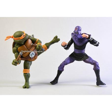 Neca - TMNT - Les Tortues Ninja - Pack Michelangelo vs Foot Soldier