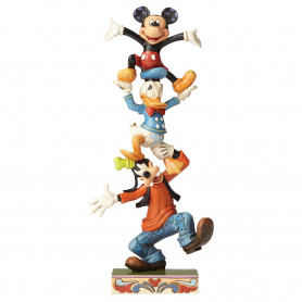 "Enesco Disney Traditions - ""Teetering Tower"" - Mickey Donald Dingo - 22cm"