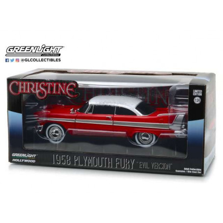 Greenlight - CHRISTINE - John Carpenter - 1958 Plymouth Fury EVIL VERSION - 1/24 Diecast
