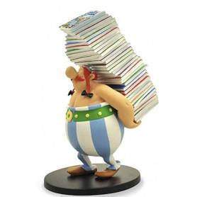 Asterix statuette - Collectoys Collection -Obelix et la pile d'albums - 25cm