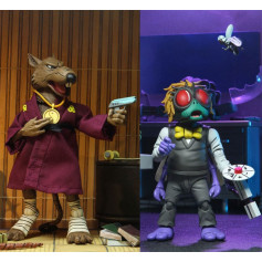 Neca - TMNT - Les Tortues Ninja - Pack 2 figurines Splinter & Baxter