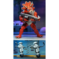 Neca - TMNT - Les Tortues Ninja - Pack Triceraton Infantryman & Roadkill Rodney x2