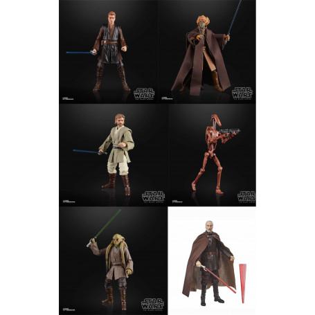 Star Wars Black Series - Obi-Wan Anakin Dooku Battle Droid Kit Fisto Plo Koon -Set de 6 figurines