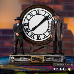 Iron Studios - BTTF 3 - Marty McFly & Doc Brown devant l'horloge - Back to the Future Part III