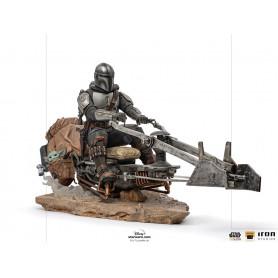 IRON STUDIOS - The Mandalorian - Din Djarin and Grogu on Speeder Bike Deluxe Art Scale 1/10 - Star Wars